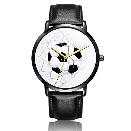 Canisto Unisex Watch, Soccer Watch Black Leather Band Watch for Men and Women Classic Fashion Foot Ball Watches for Couples and Lovers
