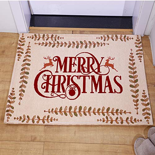 AMIDA Merry Christmas Gift Doormats with Words and Reindeers Entryway Rugs 2x3 for Home Decoration Indoor Outdoor Beige Anti Slip Backing Machine Washable