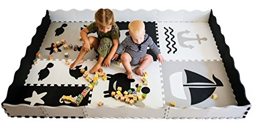 Baby Play Mat with Edges - Extra large (6ftx6ft) Interlocking Foam mat for kids with Sea Creatures Patterns | Crawling Mat for Playroom & Nursery | puzzle mat for Infants, Toddlers & Kids