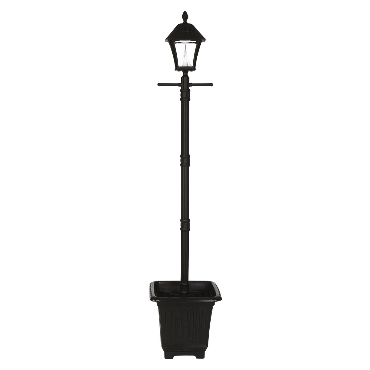Gama Sonic Baytown Solar Lamp Post and Single Lamp LED Light Fixture, Planter Base, 77-Inch Height, Black Finish #GS-106PL