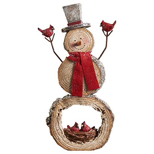 Gift Craft Snowman Log Slice Nest 6.5 x