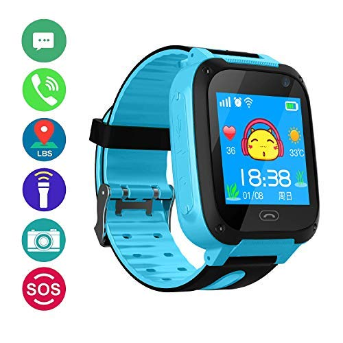 Kids Smart Watch for Children Girls Boys Digital Watch with Anti-Lost SOS Button GPS Tracker Smartwatch Great Gift for Children Pedometer Smart Wrist Watch for iOS Android (Pink) (Pink)