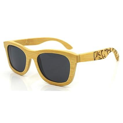 Aihifly Gafas de Sol polarizadas Unisex Retro Style Bamboo Sunglasses Polarized Lens Protección UV para Hombres