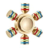 (US) Fidget Spinner, Magicfly 6 Wings Detachable Hand Spinner - Customizable, Glow in the Dark Spinner, Luxury Quality, Premium R188 Bearing, Help Focus and Reduce Stress, Spins 4 Minutes+ (Gold)