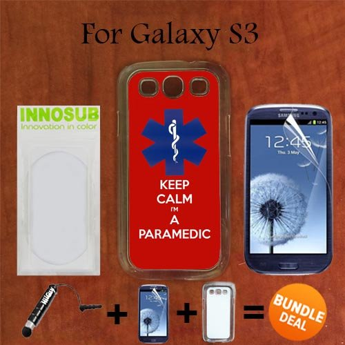 Blue EMT Keep Calm Custom Galaxy S3 Cases-CLEAR-Plastic,Bundle 3in1 Comes with Screen Protector/Universal Stylus Pen by innosub