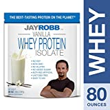 Jay Robb - Grass-Fed Whey Protein Isolate Powder, Outrageously Delicious, Vanilla, 76 Servings (80 oz)