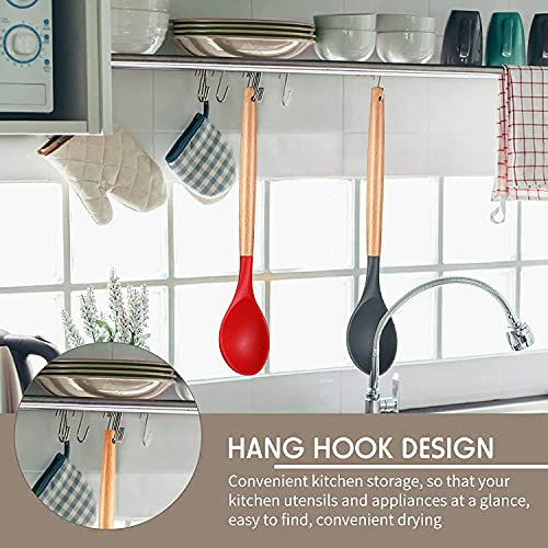 INTELIVE Set 2 Silicone Nonstick Mixing Spoons with Wooden Handle,Cooking Spoon Kitchen Utensil Set,BPA Free 480°F Heat-Resistant Rubber Spoon Set for Stirring, Baking,Mixing and Serving,Red and Black