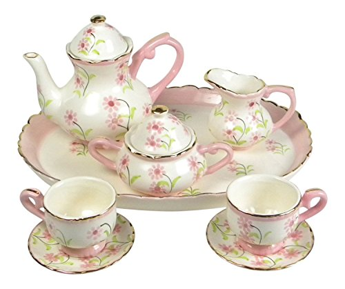 Children's Porcelain Miniature Tea Set for Two Pretty in Pin