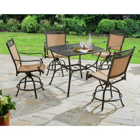 Better Homes And Gardens Warrens 5 Piece Aluminum High Dining Set Home Patio And Furniture