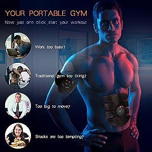 Ankuka Abdominal Muscle Toner, ABS Stimulator Portable Muscle Toning Trainer Belt for Abdomen/Arm/Leg Training, Gym Workout Home/Office Men Women Fitness Equipment (Black/Orange) by Ankuka