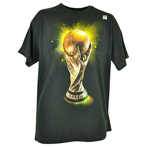Gold Trophy Logo Tshirt Soccer Futbol Mens Black Tee Large (Fifa World Cup Trophy)