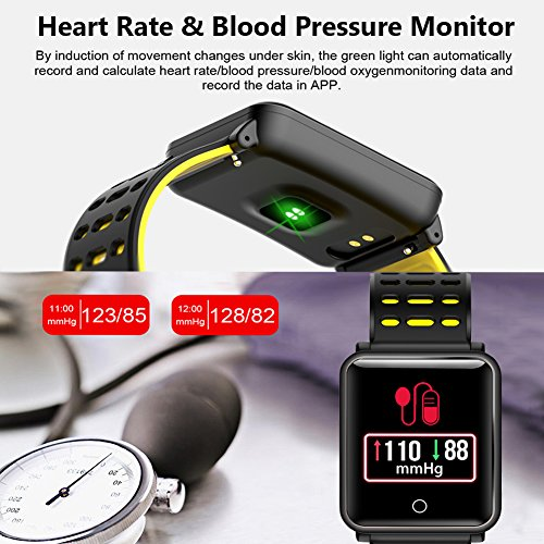 1.3'' TF2 HD Screen Sport Fitness Tracker with Blood Pressure Heart Rate Monitor IP68 Waterproof Pedometer Stopwatch Smartwatch for Kid Men Women Wristband Swim Run Travel Activity Tracker iOS Android by Symfury (Image #3)