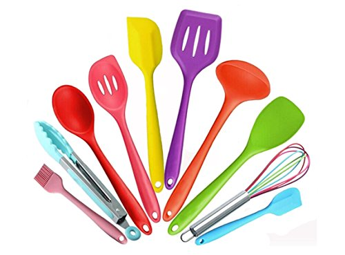 Hompow 10 Piece Silicone cooking utensils,Heat Resistant Multicolor Kitchen Cooking Set Including Brush, Tongs, Spoon, Spatula, Slotted turner, ladle,  Whisk