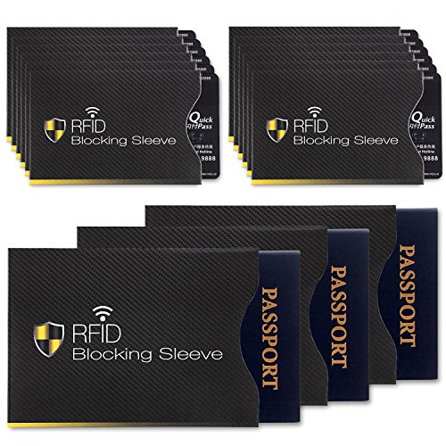15 RFID Blocking Sleeves (12 Credit Card Holders & 3 Passport Protectors)- Ultimate Premium Identity Theft Protection Sleeve- Perfectly Fits Wallet/Purse (Rfid Blocking)