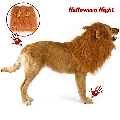 WMWJDQY 1 Pcs Lion Mane for Dog,Dogs Funny Gifts Pet Lion Mane Costume,Adjustable Halloween Cosplay Party Holiday Photo Shoots Festival Lion Mane Wig,Darkbrown,Withears