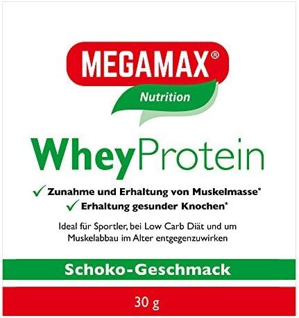 MEGAMAX Whey Protein Drink Molkeneiweiß Schoko 30 g -laktosefreie Molkeneiweißisolat -hochwertiges Low Carb Molkeprotein-Isolat -Eiweiß-Shake ideal für Muskelaufbau und Fitness
