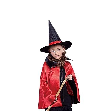 BOBORA Capa de Bruja con Sombrero para Niño y Adultos, Disfraz ...