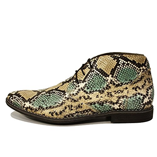PeppeShoes Modello Flekko - Cuero Italiano Hecho A Mano Hombre Piel Verde Chukka Botas Botines - Piel de Cabra Cuero Repujado - Encaje