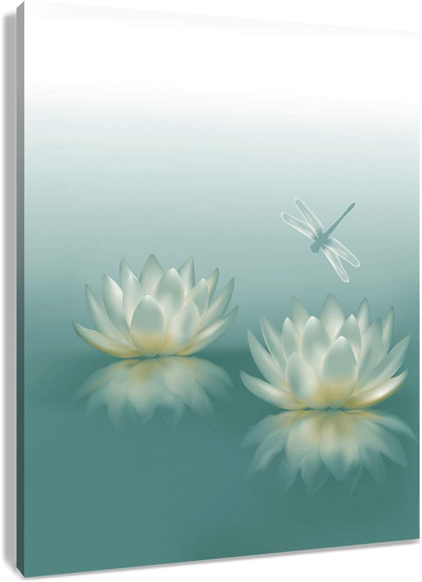 HVEST Dragonfly with Water Lily Flowers Canvas Wall Zen Spa Picture Printed Artwork for Living Room Bedroom Bathroom Wall Decor,Stretched and Framed Ready to Hang,12x16 Inches