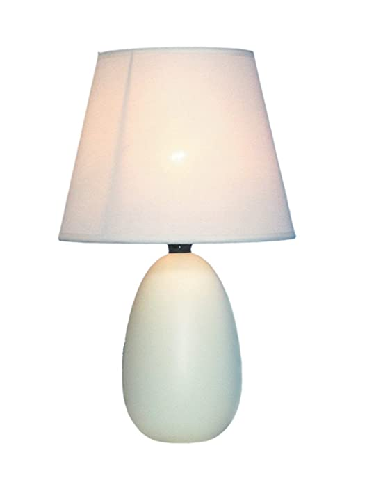 "Simple Designs Home LT2009-OFF Mini Oval Egg Ceramic Table Lamp, 5.51"" x 5.51"" x 9.45"", Off-White"