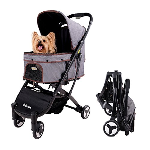 ibiyaya Light Weight Dog Stroller Medium, Small Dogs Cats Smart Design Folds Down to a Large Hand Bag Size Folding Puppy Kitten Carrier Perfect Pet Travel