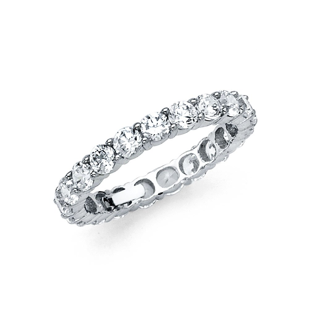 14k Yellow OR White Gold 3mm Wedding Eternity Band GoldenMine RS-0006W