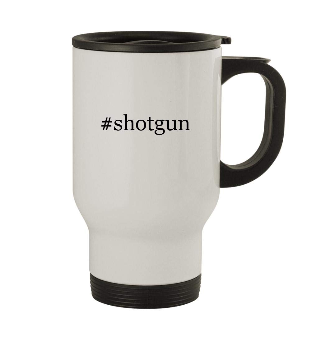 #shotgun - 14oz Sturdy Hashtag Stainless Steel Travel Mug, White by Knick Knack Gifts (Image #1)