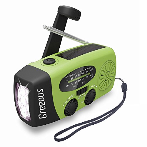 Weather Radio Hurricane Radios Hand Crank,FM/AM/NOAA Solar Emergency Radio with LED Flashlight,1200mAh Power bank for iPhone /Android,Family Emergency Survival Kit,Green,Greeous