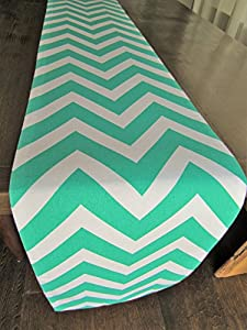 Teal Chevron Table Runner - Crabtree Collection (12 x 72)