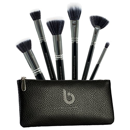 Beauty Junkees 6 PC Pro Duo Fiber Makeup Brush Set with Case for Blending, Stippling, Highlighting, Setting for a Sheer, Light and Flawless Finish, Synthetic, Vegan, Cruelty Free