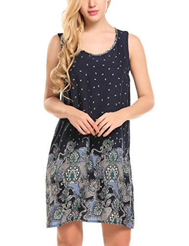 HOTOUCH Women's Sleeveless Bohemian Floral Loose Casual Shift Tank Dress Navy Blue M