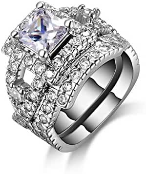 JEMMIN Platinum Plated Rings Cubic Zircon Jewelry Set for Wedding Engagment Cocktail Party