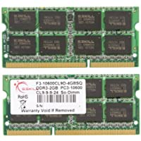 G.SKILL 4GB (2 x 2GB) DDR3 1333 MHz PC3-10600 204-Pin Laptop Memory Model: F3-10600CL9D-4GBSQ
