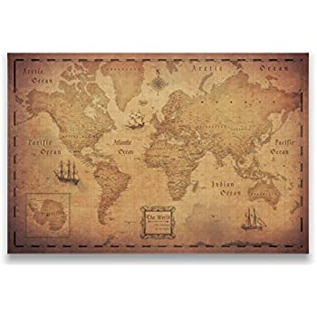 Amazon world map national geographic cork pinboard map with pins world travel map conquest maps golden aged style push pin gumiabroncs Gallery