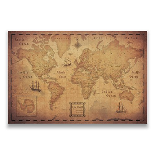 Map with Pins - World Travel Map - Conquest Maps. Golden Aged Style Push Pin Travel Map Cork Board, Track Your Travels Pinable Canvas Map with Cork Backing, Internal Framed (36 x 24 Inches) by Conquest Maps