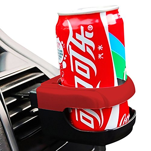 Premium Cup Holder Car Mount Air Vent Clip-On Water Bottle Drink Secure Rack Soda Can Holder Car Accessories (Red)
