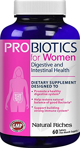Advanced Probiotic Capsules Adults 30 - Probiotics for Women supplement from Natural Riches, 60 Tablets - Immune System Booster, Colon Health & Digestive Support, Replenishes Flora after Antibiotic Use