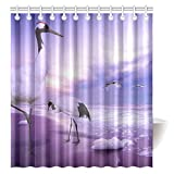 FUNNY KIDS' HOME Shower Curtain Animal Theme Red-crowned Cranes Polyester Fabric Bathroom Decoration Rings Included 66'' x 72''
