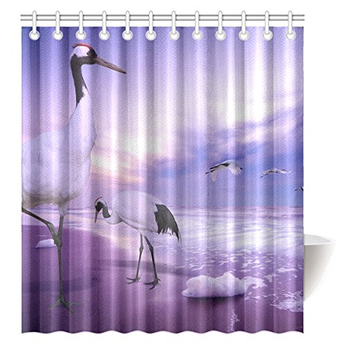 FUNNY KIDS' HOME Shower Curtain Animal Theme Red-crowned Cranes Polyester Fabric Bathroom Decoration Rings Included 66'' x 72'' by FUNNY KIDS' HOME