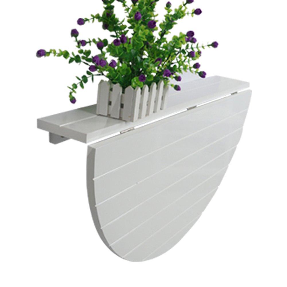 LXLA壁折りたたみテーブルキッチンデスク壁掛けハンギングワークステーション木製半円オーガナイザーホワイト B07DWZM9P9