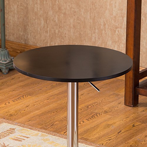 Roundhill Furniture Adjustable Height Wood And Chrome Metal Bar Table Black Buy Online In Uae
