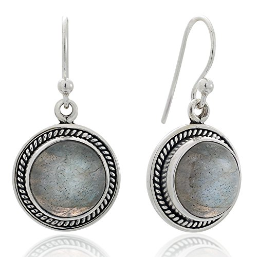 Mystic Earrings Labradorite (925 Sterling Silver Natural Labradorite Gemstone Rope Edge Round Dangle Hook Earrings 1.2