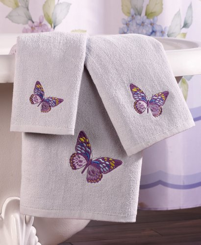 Collections Etc Lilac Butterflies Bathroom Towels - Set of 3