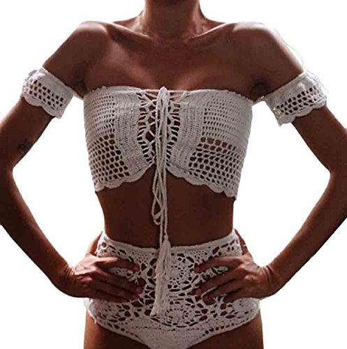Vovotrade Bohemian Women Handmade Knitted Strapless Bikini Set Swimwear Bra Swimsuit Beachwear (S, White)