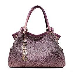 Women Bag Hollow Out Ombre Handbag Floral Print Shoulder Bags Ladies Pu Leather Tote Bag Red Gray Blue Pink