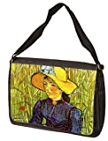 Young Peasant Woman With Straw Hat Sitting In The Wheat By Vincent Van Gogh Laptop Shoulder Bag