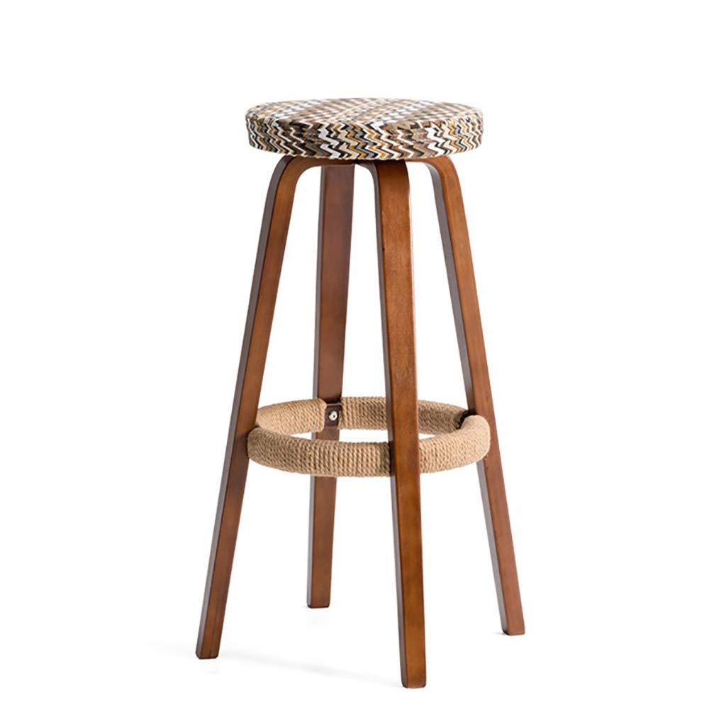 D Wooden Bar Chair Round Bar Stool Bar Chair Coffee Shop Stool Bar Chair (color   G)