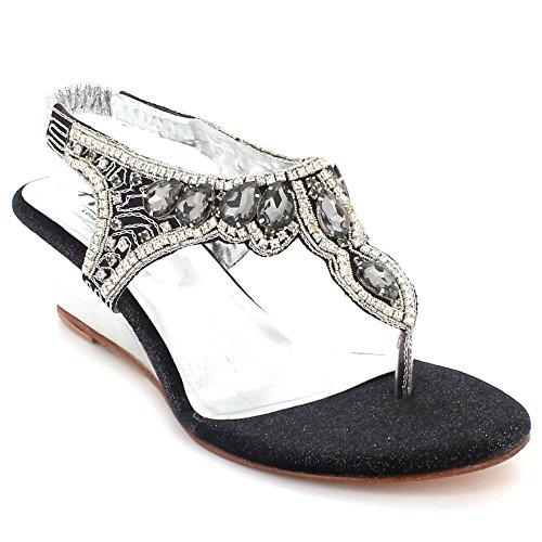 AARZ LONDON Women Ladies Crystal Diamante Evening Wedding Party Bridal Prom Comfort Wedge Heel Slingback Sandals Shoes Size Black dKjMBw5tC