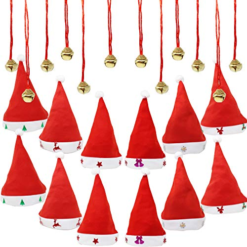 1 Dozen Fancy Santa Hats with 1 Dozen Jingle Bell Necklaces for Christmas Party-ONE SIZE FITS ALL