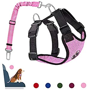 AutoWT Dog Safety Vest Harness, Pet Car Harness Dog Safety Seatbelt Breathable Mesh Fabric Vest with Adjustable Strap… Click on image for further info.
